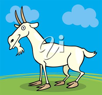 picture of a goat standing in a pasture with a grin on her face in a vector clip art illustration