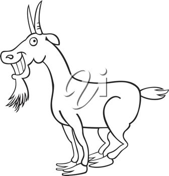 picture of a happy goat in black and white in a vector clip art illustration