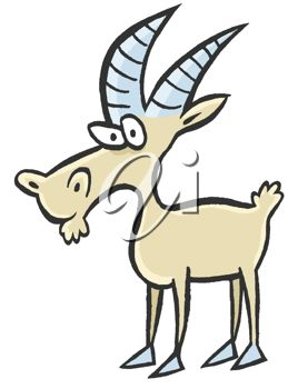 picture of a goat cartoon in a vector clip art illlustration