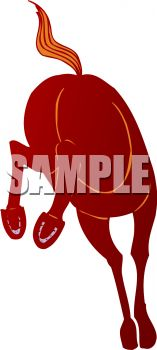 picture of a horse kicking up his back legs in a vector clip art illustration
