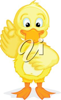 picture of a baby chick with a wing up cartoon in a vector clip art illustration