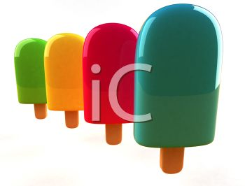 four colorful bright popsicles on a white background in a vector clip art illustration