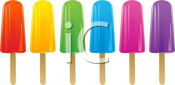 picture of a row of colorful flavored popsicles in a vector clip art illustration