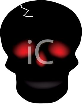 picture of a silhouette of a skull with glowing red eyes and nose in a vector clip art illustration