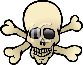 picture of a skull with crossbones in a vector clip art illustration