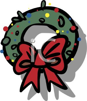picture of a cartoon Christmas wreath with a red bow in a vector clip art illustration