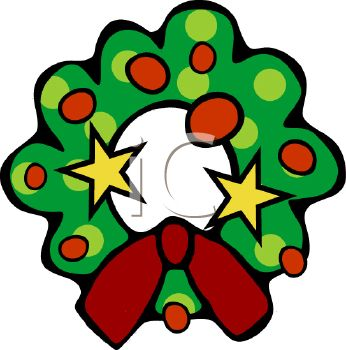 picture of a cartoon christmas wreath with decorations in a vector clip art illustration royalty free clipart illustration