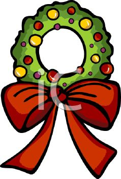 picture of a Holiday wreath with a red bow in a vector clip art illustration