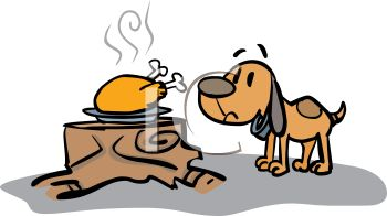picture of a dog sniffing a cooked turkey on a plate sitting on a stump in a vector clip art illustration