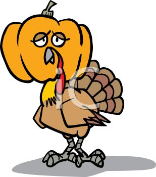 picture of a comical turkey wearing a pumpkin head in a vector clip art illustration