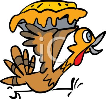 picture of a cartoon turkey running frantically holding a stolen pie in a vector clip art illustration