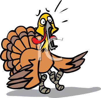 picture of a scared turkey in a vector clip art illustration