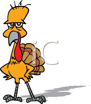 picture of a cartoon turkey with it's hands on it's hips in a vector clip art illustration
