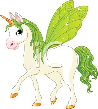 picture of a white unicorn with green wings, mane, and tail in a vector clip art illustration