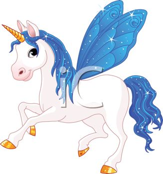 picture of a white unicorn with blue wings, mane, and tail in a vector clip art illustration