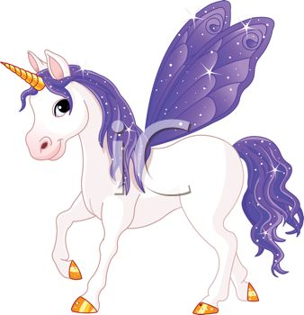 picture of a white unicorn with purple wings, mane, and tail in a vector clip art illustration