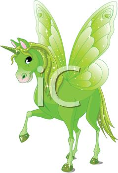 picture of a green unicorn with a green horn, wings, mane, tail, and hooves in a vector clip art illustration