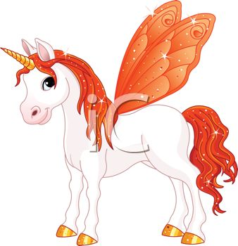 picture of a white unicorn with an orange horn, mane, tail, and wings in a vector clip art illustration