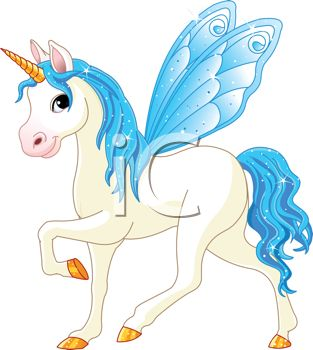 picture of a white unicorn with a blue mane, wings, and tail in a vector clip art illustration