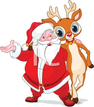picture of a cartoon santa with his arm around one of his reindeer in a vector clip art illustration