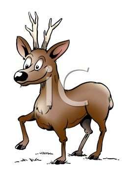 picture of a reindeer walking in the grass on a white background in a vector clip art illustration