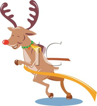 picture of a reindeer smiling and pushing his way through a finish line in a vector clip art illustration