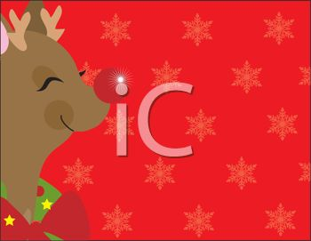 picture of a cartoon rudolph the red nosed reindeer on a red snowflake background in a vector clip art illustration