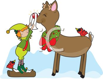 picture of a cartoon elf shining up rudolph's red nose. there's a bird on a log the elf is stand on, and on rudolphs back in a vector clip art illustration