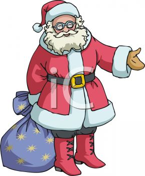 picture of a cartoon Santa holding a blue starry bag of toys in a vector clip art illustration