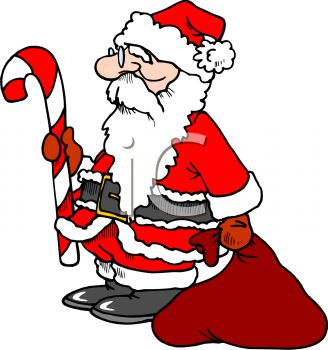 picture of a cartoon santa holding a candy cane and a bag of toys in a vector clip art illustration