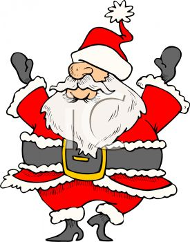 picture of a cartoon santa dancing with his eyes covered by his hat in a vector clip art illustration