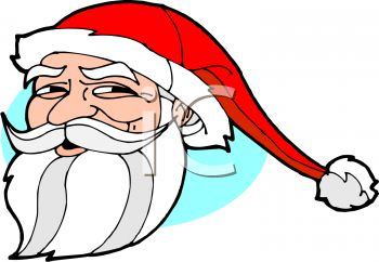 picture of a cartoon santa face on a blue background in a vector clip art illustration