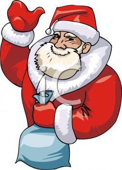 picture of a cartoon santa holding a bag of toys in a vector clip art illustration