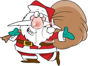 picture of a cartoon santa holding a bag of toys posing a stance in a vector clip art illustration