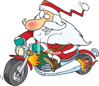 picture of a cartoon santa claus riding a motorcycle in a vector clip art illustration