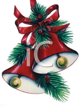picture of a set of holiday bells with greenery and a red ribbon