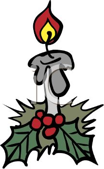 picture of a holiday burning candle with berries and ivy in a vector clip art illustration