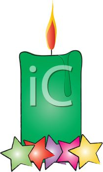 picture of a green burning candle with colorful stars in a vector clip art illustration