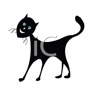 picture of a sihouette of a standing happy black cat on a white background in a vector clip art illustration