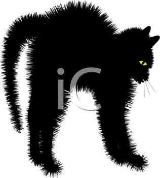 picture of a scared cat with his fur standing up in a vector clip art illustration