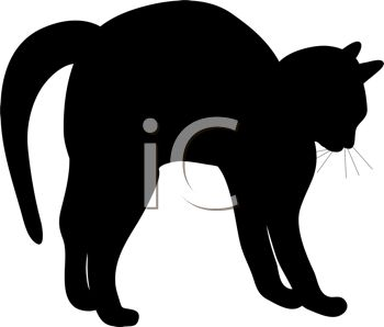 picture of a silhouette of a black cat frightened with his back arched in a vector clip art illustration
