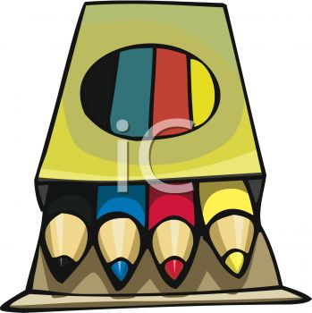 Picture of a smal box of colored crayons in a vector clip art illustration