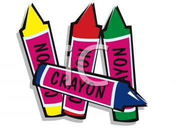 picture of coloured crayons on a white backgroud in a vector clip art illustration