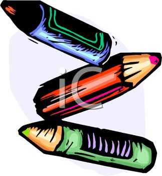picture of three coloured crayons on a white backgound in a vector clip art illustration