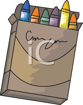 picture of a box of colourful crayons on a white background in a vector clip art illustration