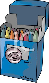 picture of a blue box of colorful crayons on a white background in a vector clip art illustration