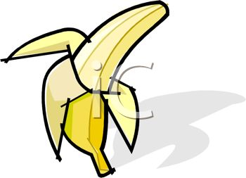 picture of a half peeled banana on a white background in a vector clip art illustration