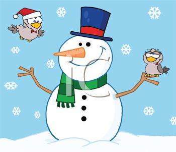 picture of a happy smiling snowman on a snowy day with one bird flying and another bird standing on the snowman's stick hand in a vector clip art illustration