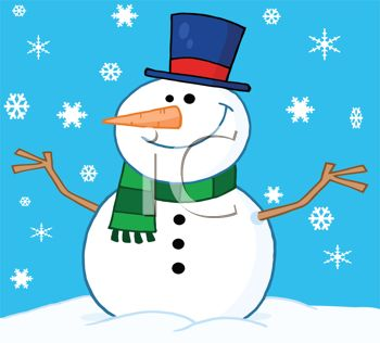 picture of a smiling dressed up snowman on a snowy day in a vector clip art illustration