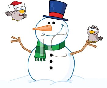 picture of a dressed up smiling snowman holding a bird in his stick hand, with another bird flying nearby